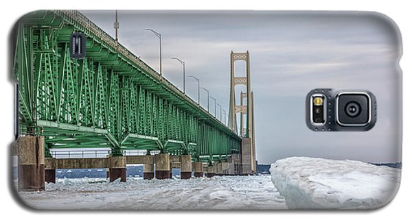 Galaxy S5 Case featuring the photograph Ice And Mackinac Bridge  by John McGraw