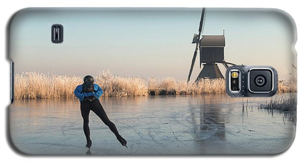 Ice Skating Past Frosted Reeds And A Windmill Galaxy S5 Case