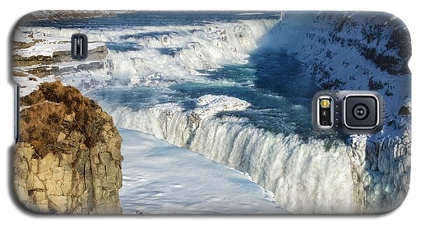 Galaxy S5 Case featuring the photograph Iceland Gullfoss Waterfall In Winter With Snow by Matthias Hauser