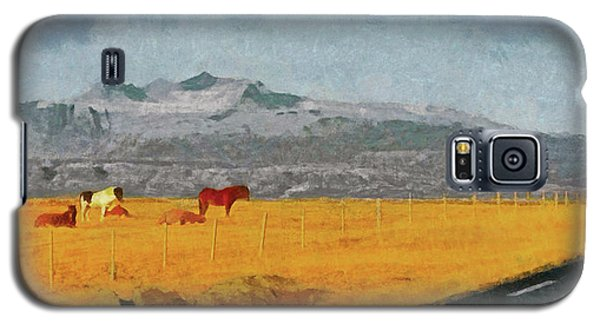 Galaxy S5 Case featuring the digital art Icelandic Horses On The Snaefellsnes Peninsula by Digital Photographic Arts