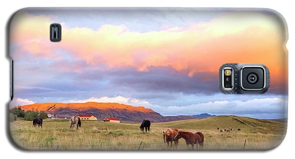 Galaxy S5 Case featuring the photograph Icelandic Horses Under The Sunset by Brad Scott