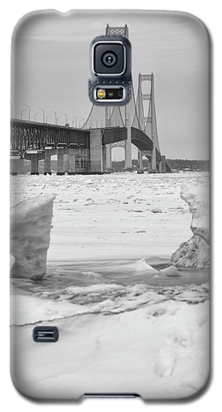 Galaxy S5 Case featuring the photograph Icy Black And White Mackinac Bridge  by John McGraw