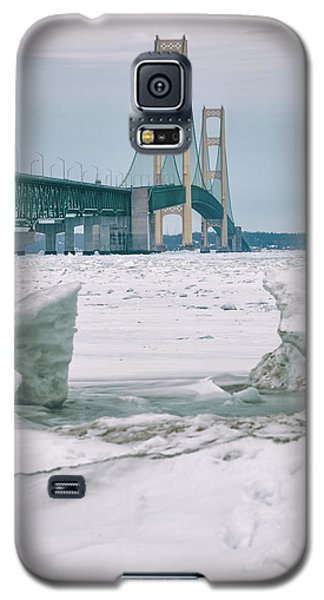 Galaxy S5 Case featuring the photograph Icy Day Mackinac Bridge  by John McGraw