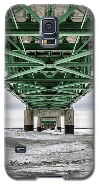 Galaxy S5 Case featuring the photograph Icy Mackinac Bridge In Winter by John McGraw