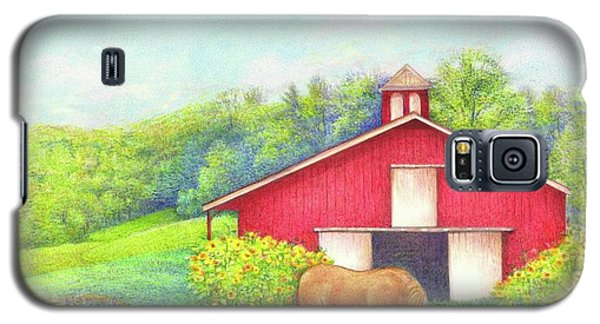Galaxy S5 Case featuring the painting Idyllic Summer Landscape Barn With Horse by Judith Cheng