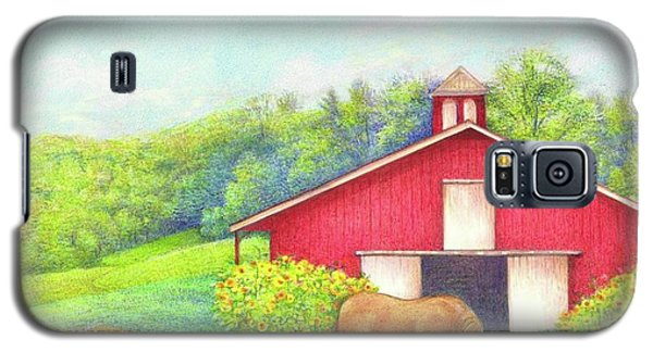 Idyllic Summer Landscape Barn With Horse Galaxy S5 Case