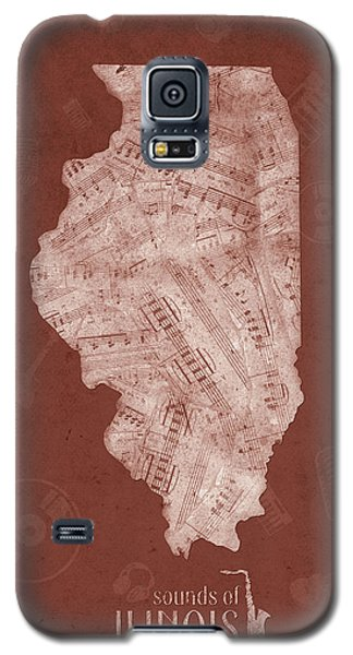 University Of Illinois Galaxy S5 Case - Illinois Map Music Notes 5 by Bekim Art