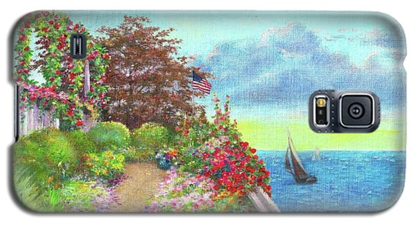 Galaxy S5 Case featuring the painting Illustrated Beach Cottage Water's Edge by Judith Cheng