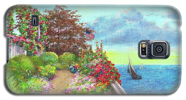 Illustrated Beach Cottage Water's Edge Galaxy S5 Case by Judith Cheng