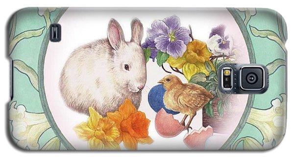 Illustrated Bunny With Easter Floral Galaxy S5 Case by Judith Cheng