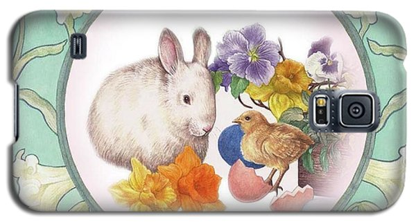 Illustrated Bunny With Easter Floral Galaxy S5 Case