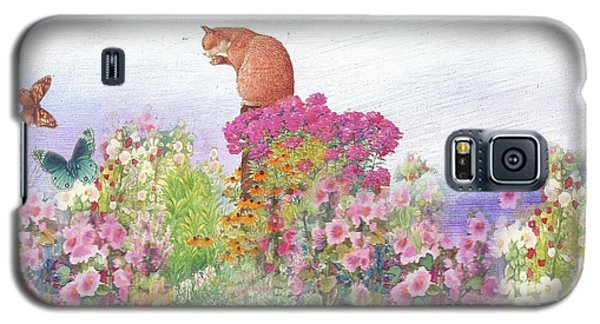 Galaxy S5 Case featuring the painting Illustrated Cat In Garden by Judith Cheng