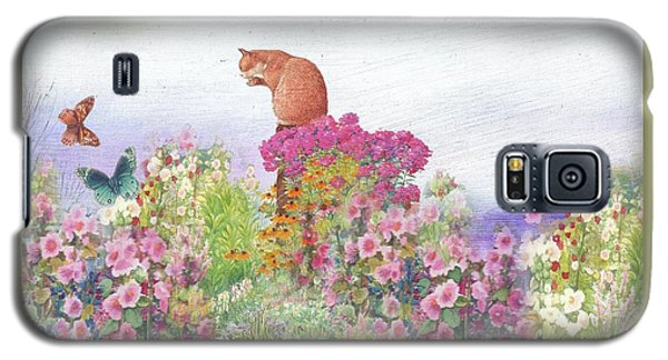 Illustrated Cat In Garden Galaxy S5 Case