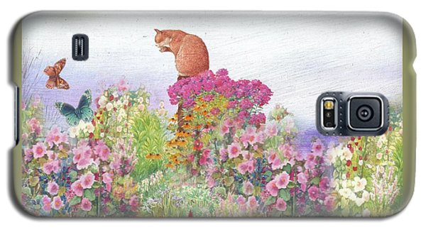 Illustrated Cat In Garden Galaxy S5 Case by Judith Cheng