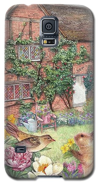 Illustrated English Cottage With Bunny And Bird Galaxy S5 Case