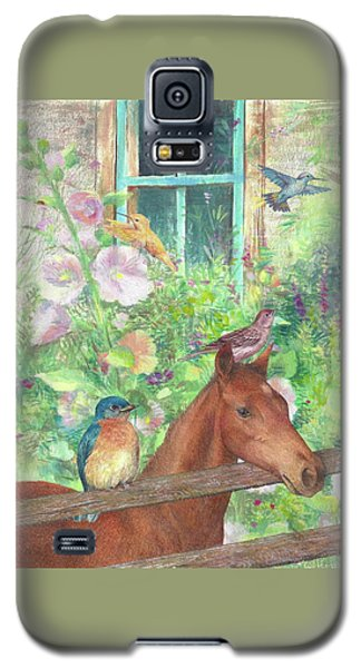 Illustrated Horse And Birds In Garden Galaxy S5 Case