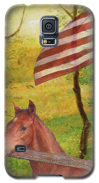 Galaxy S5 Case featuring the painting Illustrated Horse In Golden Meadow by Judith Cheng