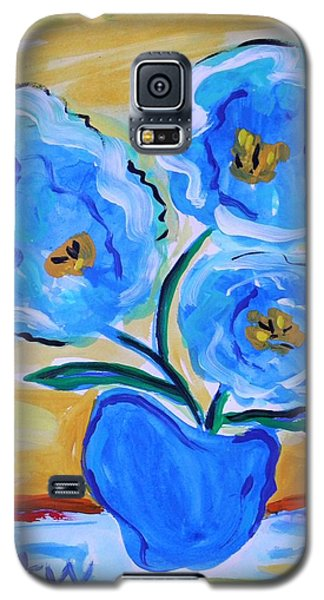 Galaxy S5 Case featuring the painting Imagine In Blue by Mary Carol Williams