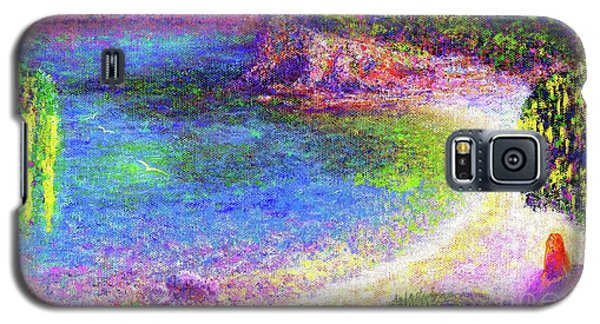 Galaxy S5 Case featuring the painting Imagine, Meditating In Beautiful Bay,seascape by Jane Small