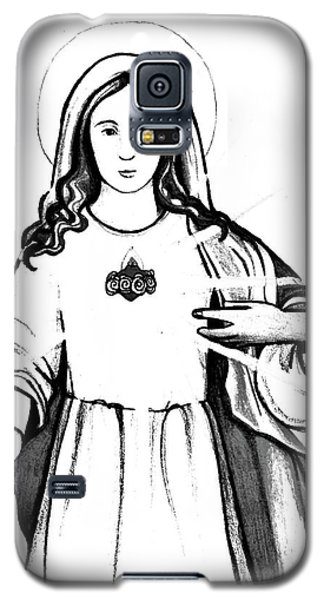 Galaxy S5 Case featuring the drawing Immaculate Heart Of Mary by Mary Ellen Frazee