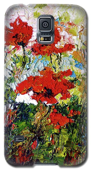 Galaxy S5 Case featuring the painting Impressionist Red Poppies Provencale by Ginette Callaway