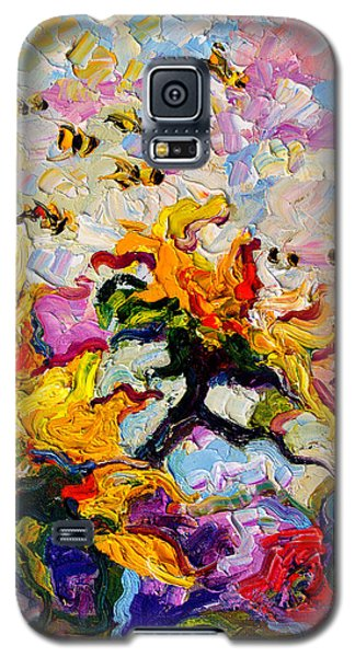 Impressionist Sunflowers And Bees Galaxy S5 Case by Ginette Callaway