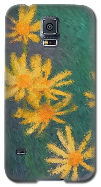 Galaxy S5 Case featuring the painting Impressionist Yellow Wildflowers by Smilin Eyes  Treasures
