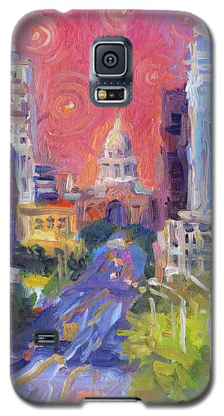Impressionistic Downtown Austin City Painting Galaxy S5 Case