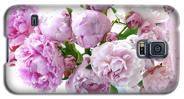 Galaxy S5 Case featuring the photograph Impressionistic Romantic Pink Peonies Watercolor Romantic Floral Decor - Pink Peony Decor by Kathy Fornal