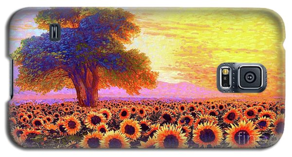 In Awe Of Sunflowers, Sunset Fields Galaxy S5 Case