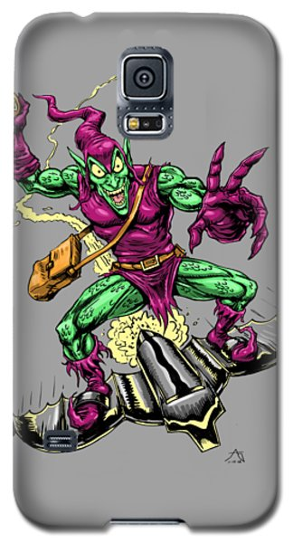Galaxy S5 Case featuring the drawing In Green Pursuit by John Ashton Golden