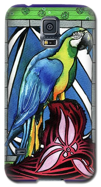 Galaxy S5 Case featuring the painting In Love With A Macaw by Dora Hathazi Mendes