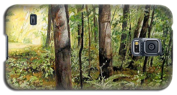Galaxy S5 Case featuring the painting In The Shaded Forest  by Laurie Rohner