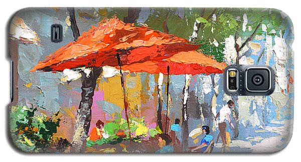 Galaxy S5 Case featuring the painting In The Shadow Of Cafe by Dmitry Spiros