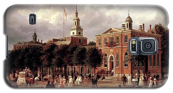 Galaxy S5 Case featuring the painting Independence Hall by Ferdinand Richardt