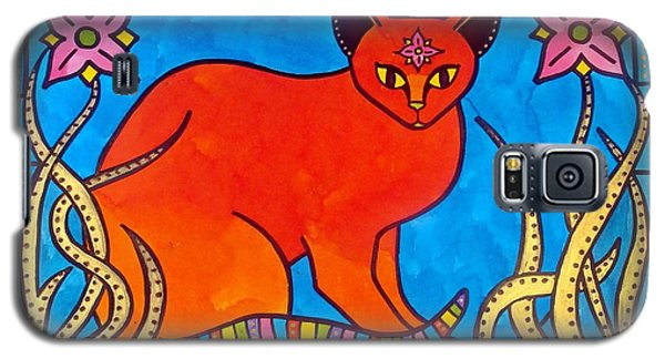 Galaxy S5 Case featuring the painting Indian Cat With Lilies by Dora Hathazi Mendes