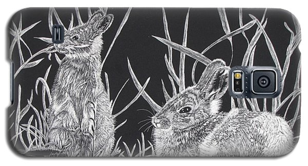 Galaxy S5 Case featuring the mixed media Indian Ink Rabbits by Kevin F Heuman