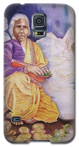Galaxy S5 Case featuring the painting Indian Woman At Market IIi by Teresa Beyer