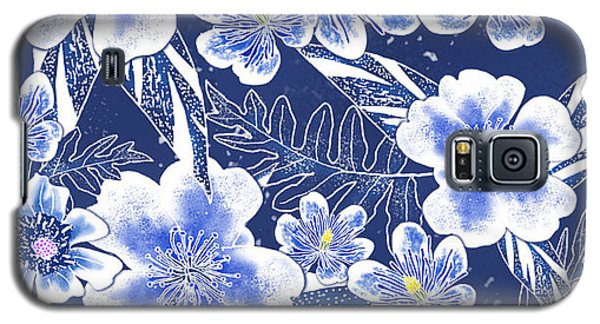 Indigo Batik Tile 1 - Camellia Galaxy S5 Case