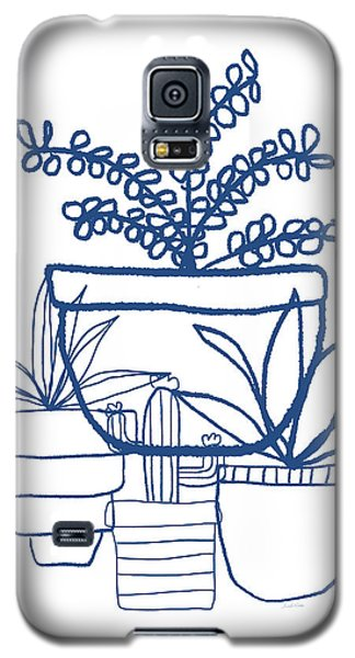 Galaxy S5 Case featuring the mixed media Indigo Potted Succulents- Art By Linda Woods by Linda Woods
