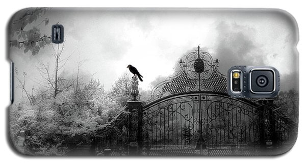 Galaxy S5 Case featuring the photograph Infrared Gothic Raven On Gate Black And White Infrared Print - Solitude - Gothic Raven Infrared Art  by Kathy Fornal