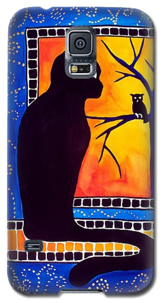Insomnia - Cat And Owl Art By Dora Hathazi Mendes Galaxy S5 Case by Dora Hathazi Mendes