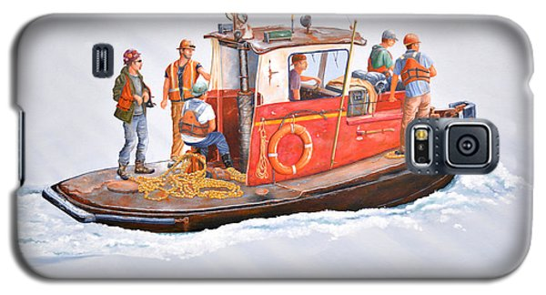 Galaxy S5 Case featuring the painting Into The Mist-the Crew Boat by Gary Giacomelli
