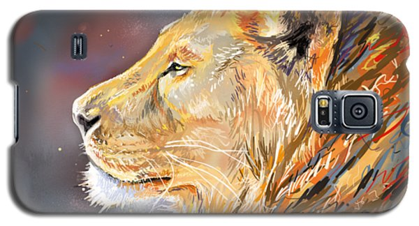 Ipad Painting - Lion Profile Galaxy S5 Case by Aaron Spong