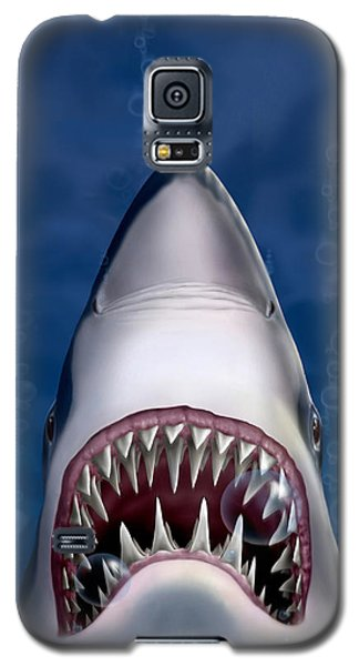 iPhone - Galaxy Case - Jaws Great White Shark Art Galaxy S5 Case by Walt Curlee