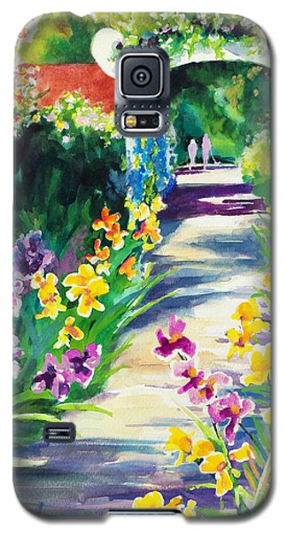 Galaxy S5 Case featuring the painting Iris Garden Walkway   by Kathy Braud