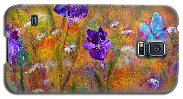 Iris Wildflowers And Butterfly Galaxy S5 Case