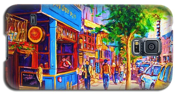 Galaxy S5 Case featuring the painting Irish Pub On Crescent Street by Carole Spandau