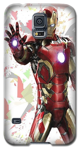 Galaxy S5 Case featuring the mixed media Iron Man Splash Super Hero Series by Movie Poster Prints