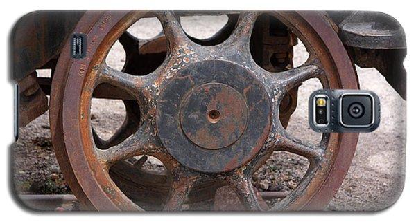 Galaxy S5 Case featuring the photograph Iron Train Wheel by Aidan Moran